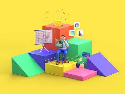 ₿ factory illustraion colors design money trading bitcoin character 3d art c4d redshift illustration 3d