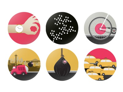Smart Cities  icons illustration design ipad watch seattle trashbag taxi cab bicycle singapore copenhagen wheel rain editorial