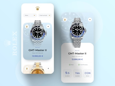 // ROLEX // Minimalistic App Concept in Light digital shop mobile rolex concept design app interface ux ui