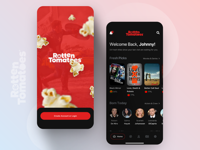 // ROTTEN TOMATOES // App Concept imdb redesign concept ui ux clean rotten tomatoes digital facelift rebrush mobile interface ios product design mobile design mobile ui