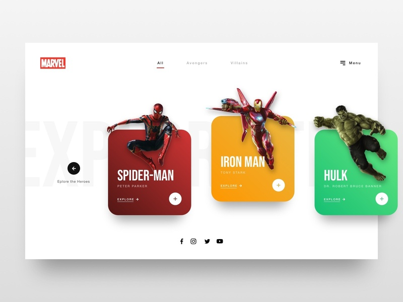 // Marvel: Explore the Heroes // Web Concept