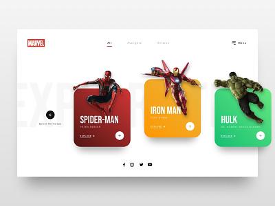 // Marvel: Explore the Heroes // Web Concept design minimalistic online website interface ui ux web  design marvel