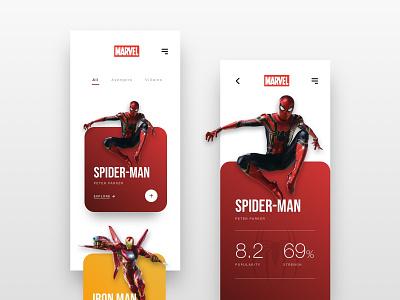 // Marvel: Explore the Heroes // Mobile Concept screendesign webdesign online ux ui interface design marvel