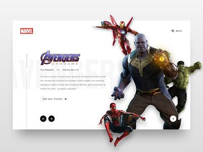 // Marvel: Minimalistic Landing Page // Web Concept avengers endgame concept ux ui webdesign interface design marvel