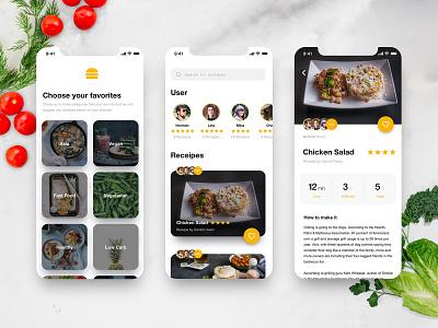 Community Cooking // App Concept application interface design screendesign ux ui mobile app cooking app