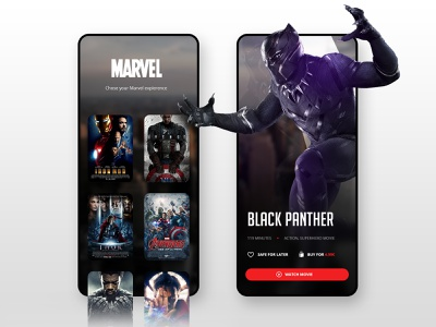 // BLACK PANTHER // Mobile Streaming Concept ux ui app movie streaming marvel panther black