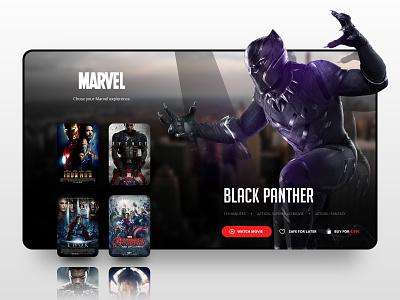 // BLACK PANTHER // Desktop Streaming Concept online digital ux ui black panther marvel responsive desktop screendesign design landingpage