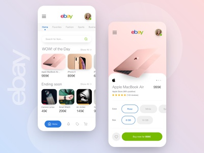 // eBay // Mobile Redesign Concept mobile ui mobile design product design ios interface mobile macbook rebrush digital facelift ecommerce shop clean ux ui concept redesign ebay app