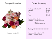 Daily UI #017 Receipt - Bouquet of Flowers Delivery