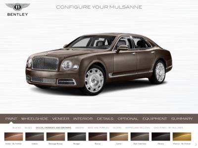 Daily UI #033 Bentley Mulsanne Car Configurator