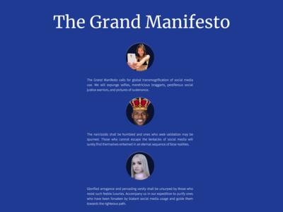 Daily UI #039 Testimonials for Grand Manifesto