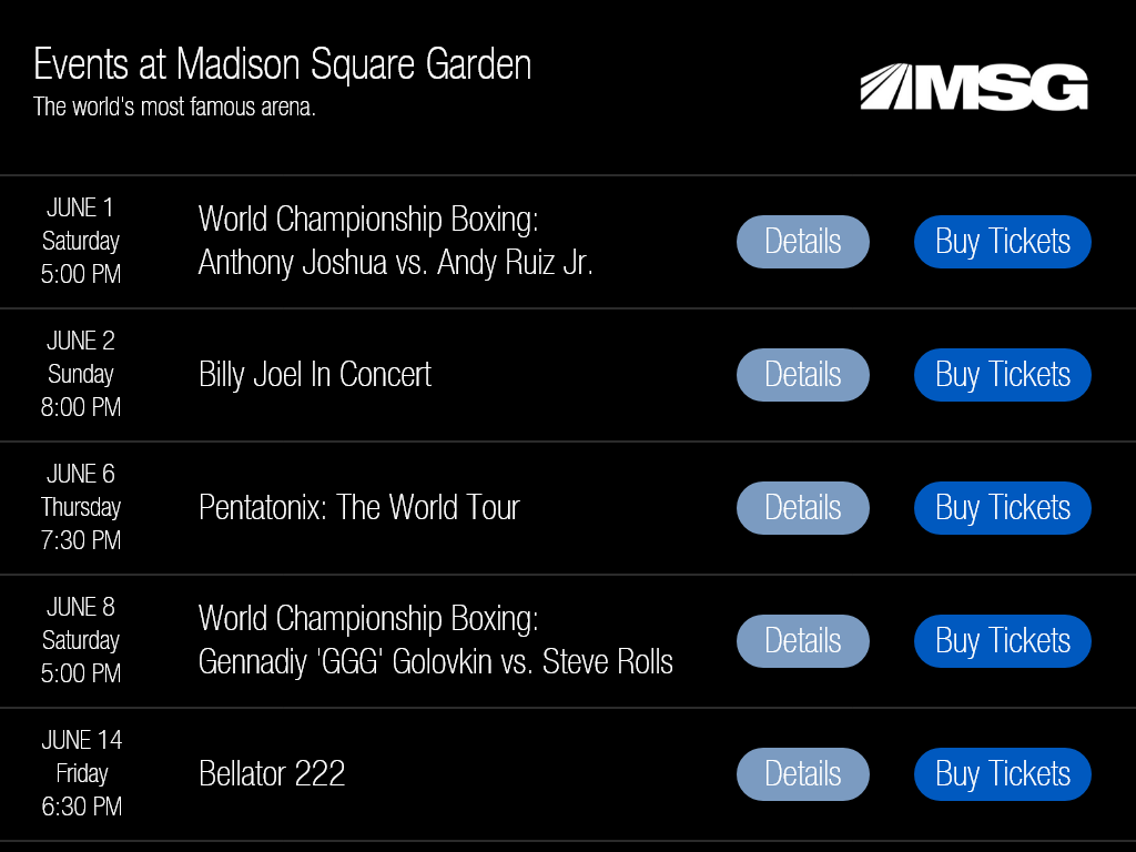 Daily UI #070 Event Listing for Madison Square Garden 70 070 dailyui nyc new york ny madison square garden msg listings events app listing events event listing