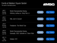 Daily UI #070 Event Listing for Madison Square Garden