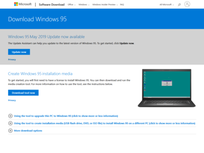 Download Windows 95 - May 2019 Update