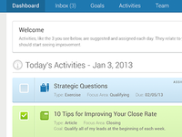 Dashboard with Daily Activities