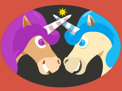 Unicorns logo illustration unicorns