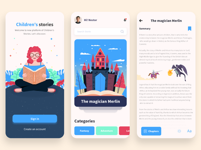 Book, Children Stories UI Design