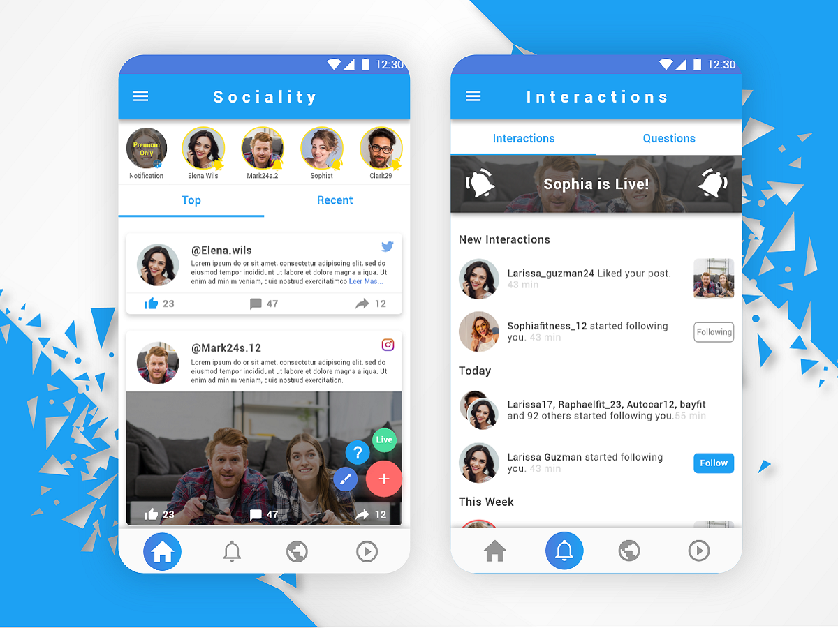All in one, Social Network Concept, Animation Tabs Menu. app ux design ui design template social network tabs design android ux ui
