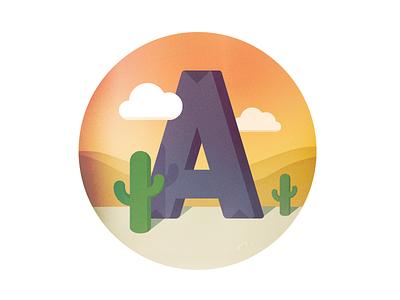 A is for Arizona arizona a cactus desert illustration landscape type