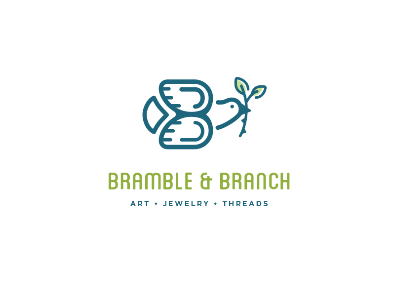Bramble & Branch bramble b dove branch bird logo