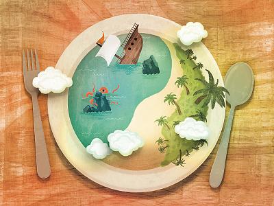 Resurrecting Wilson texture clouds ship wreck sea monster illustration island plate book wilson