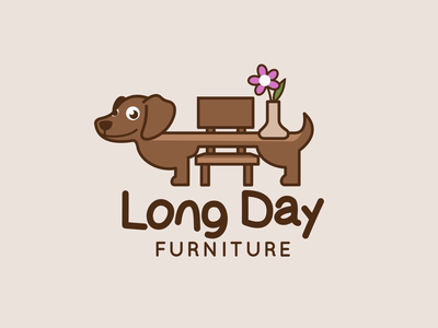 Logo Design for Long Day Furniture adorable wiener dog cute dog cartoon logo design branding branding logo