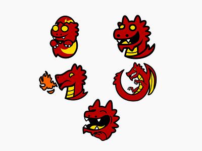Twitch Badges and Emotes for KillaKaJilla emotes dragon twitch twitchemotes cartoon character cartooning cartoon design