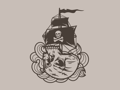 Shirt / Skullship pirate ship skull art skull tee shirt tee design shirt shirt design illustration graphic design design