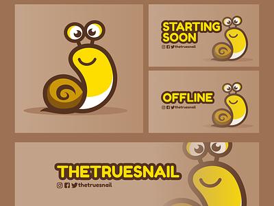 Twitch Graphics for The True Snail cartoon snail adorable cute streaming twitch twitch graphics graphic design vector design branding