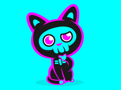 Twitch Logo for KilljoyKitteh twitch mascot adorable cute skeleton cat cartoon graphic design logo design branding vector design logo branding