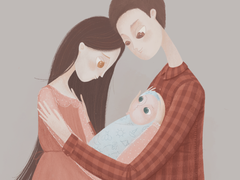 Family, mother, father and their child character design artist kids illustration book illustration family girl man child love graphic parents female male mother father procreate beautiful baby hand illustration