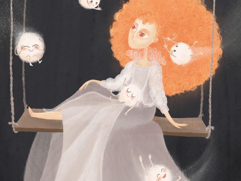 Fairy tale, magical creatures hand book illustration kids illustration graphic dress beauty female woman girl procreate artist hair gray illustration foxy red rain mystic magic fairy tale