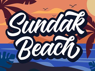 Sundak Beach Lettering and illustration design brush font illustration type design font lettering typography logotype