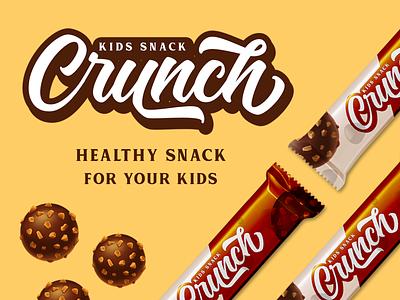 Crunch Snack mockup brush font lettering font packaging packaging design branding typography logotype