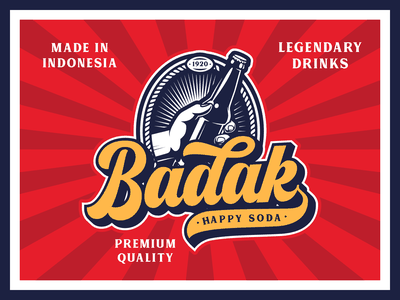 Badak Soda Drink Logotype display font bold script retro font type design lettering typography branding font logotype