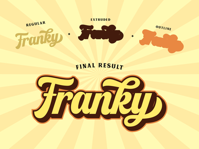 Franky - Layered Font layered font extrude font display font script lettering logo type design lettering branding typography font logotype