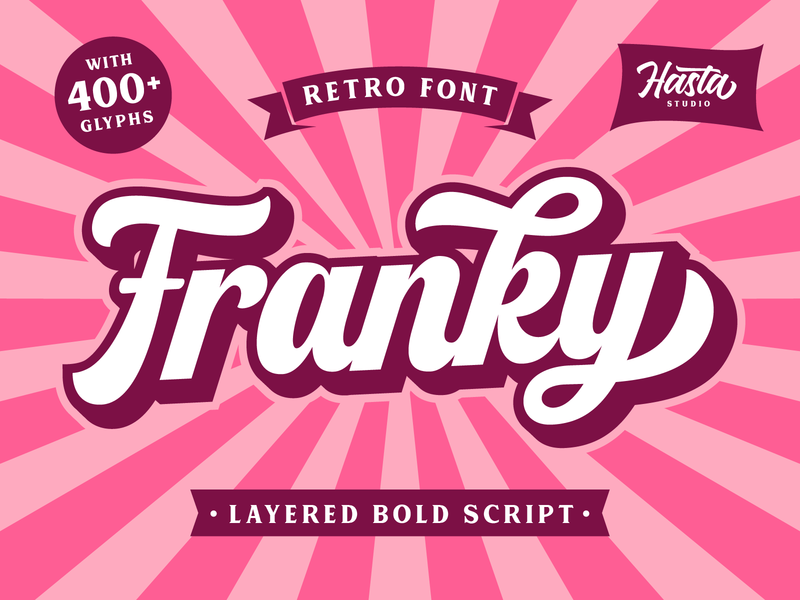 Franky - Retro Font script lettering lettering branding vintage script vintage retro font retro bold logo type design typography logotype font