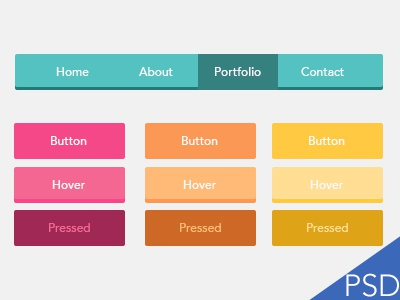 UI Flat Btns - #365Gifts Download download freebie icon free download psd photoshop flat ui ux interface buttons