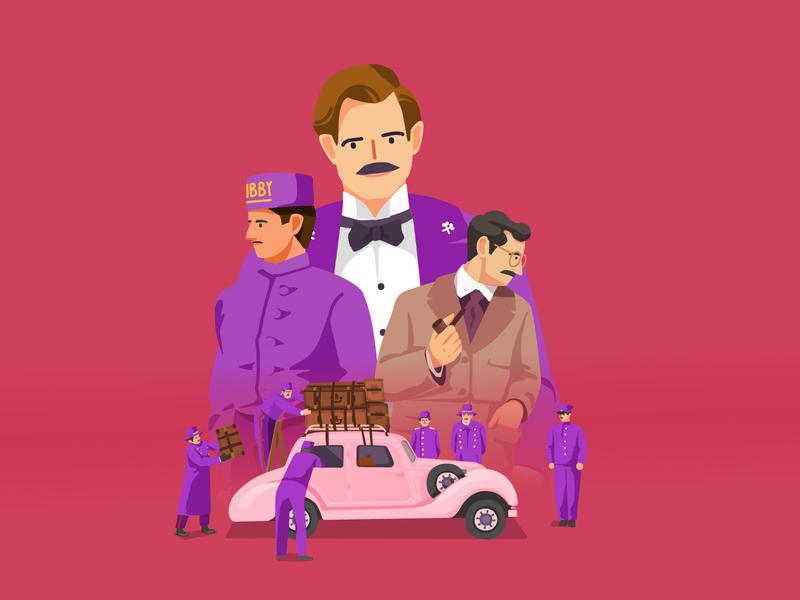 Grand Budapest hotel illustration movie ip character illustration illustartion vector
