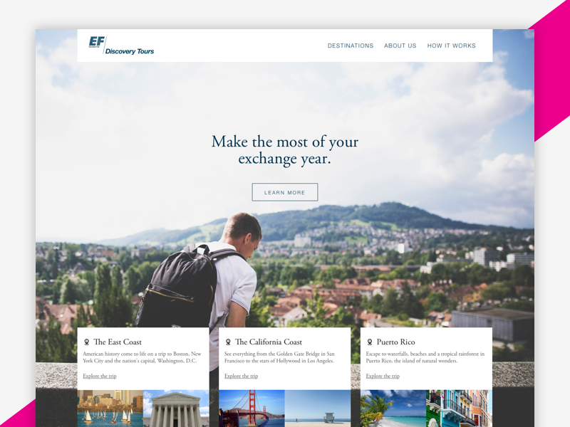 Tour Site - Landing Page education first ef photography travel tours landing page