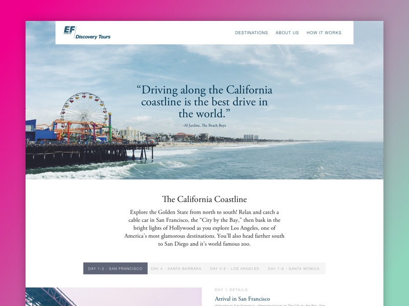 Tour Site - Tour Page white green magenta san francisco california travel tours