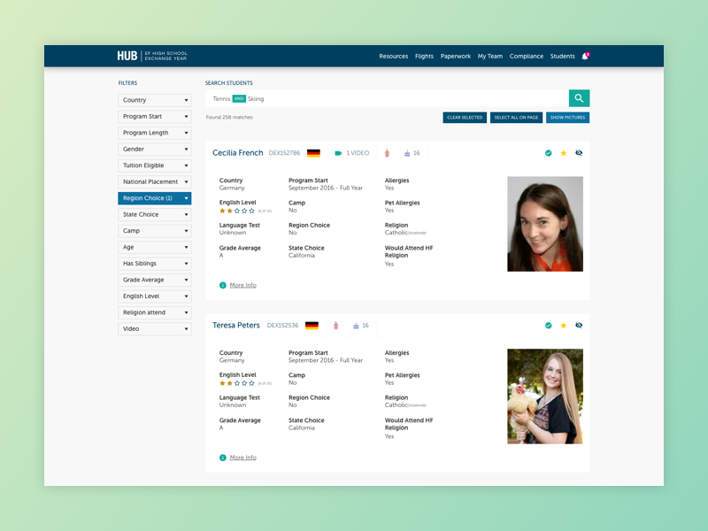 Student Search exchange ui search student search