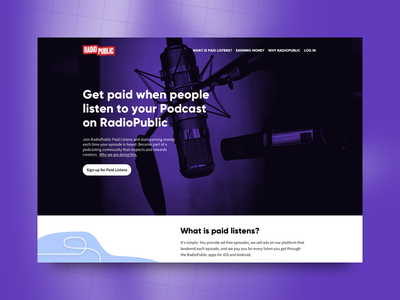 Podcasting Paid Listens Landing Page spoken word audio sound red purple website podcasting podcasters podcast landing page