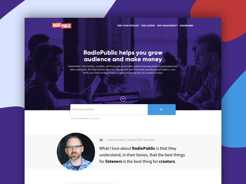 Podcasters Sign Up radio public landing page podcasters podcasts sign up
