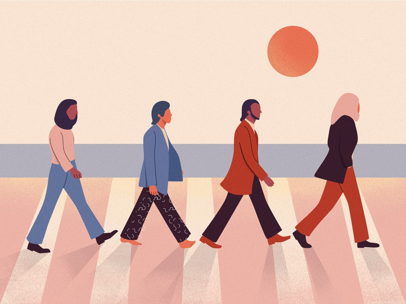 The Beatles flat vector illustration