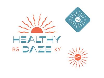 Healthy Daze branding design nutritional lifestyle nutrition sun logo logo design illustrator design branding and identity branding illustration art direction