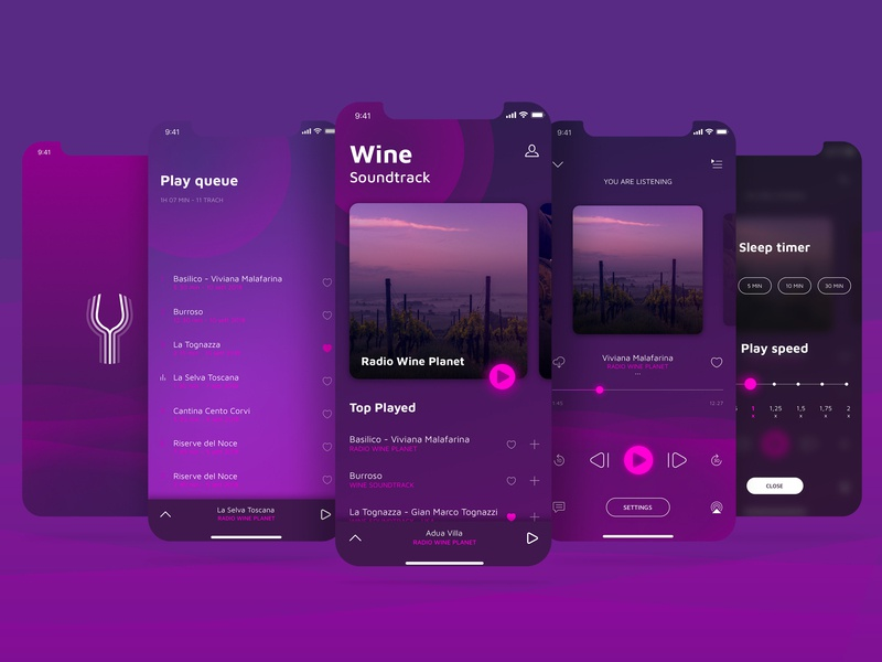Wine Soundtrack flow ux ui podcast art ui pack play queue settings page player ui play art direction podcast music app music ui desgin ui art app debut first shot dribble