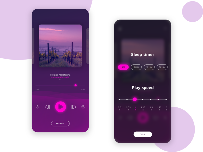 Podcast & music palyer App minimal waves cards player ui play musicapp music app music ux ui logo branding dribble flow art direction app