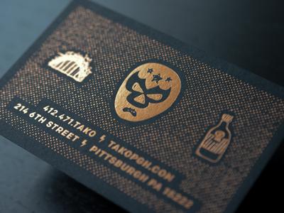 Tako Business card - back ace bindery foil stamp tako