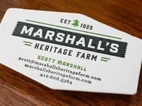 Marshalls farm letterpress card
